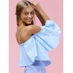 Trendy Off-The-Shoulder Pure Color Women's Blouse for sale