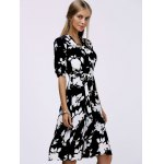 Fashionable V-Neck Floral Print Midi Dress For Women deal