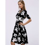 cheap Fashionable V-Neck Floral Print Midi Dress For Women