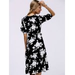 Fashionable V-Neck Floral Print Midi Dress For Women for sale