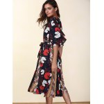 Ethnic Style V-Neck Flare Sleeve Hit Color Women's Chiffon Dress deal