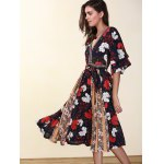 cheap Ethnic Style V-Neck Flare Sleeve Hit Color Women's Chiffon Dress