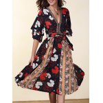 Ethnic Style V-Neck Flare Sleeve Hit Color Women's Chiffon Dress