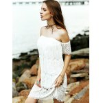 cheap Stylish Off The Shoulder White Lace Women's Dress