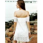 Stylish Off The Shoulder White Lace Women's Dress deal