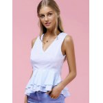 Fashionable V-Neck Pinstriped Ruffle Top For Women deal