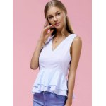 cheap Fashionable V-Neck Pinstriped Ruffle Top For Women