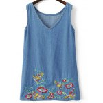 Casual Deep V Neck Sleeveless Embroidered Women's Denim Dress
