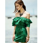 Stylish Off The Shoulder Green Ruffles Women's Dress deal