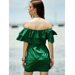 Stylish Off The Shoulder Green Ruffles Women's Dress for sale