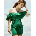 cheap Stylish Off The Shoulder Green Ruffles Women's Dress