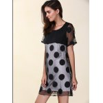 cheap Casual Scoop Neck Short Sleeve Polka Dot Organza Women's Dress