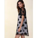 Casual Scoop Neck Short Sleeve Polka Dot Organza Women's Dress deal