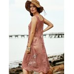 Stylish Square Neck Sleeveless Lace Women's Dress for sale