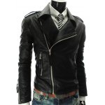 Stand Collar PU-Leather Zipper Epaulet Long Sleeve Jacket For Men 11027