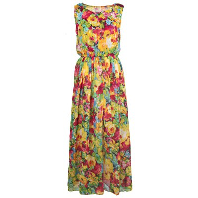 Scoop Neck Floral Print Chiffon Dress For Women