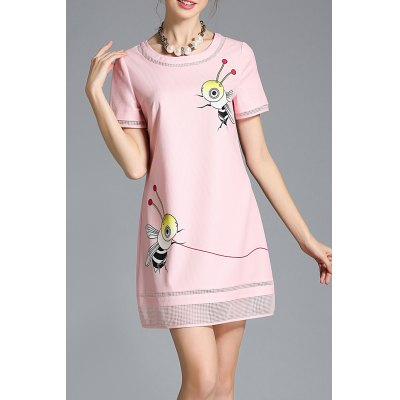 Bees Print Round Collar Plus Size Dress