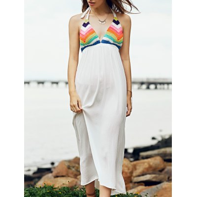 Trendy Spaghetti Straps Crocheted Striped Dress For Women