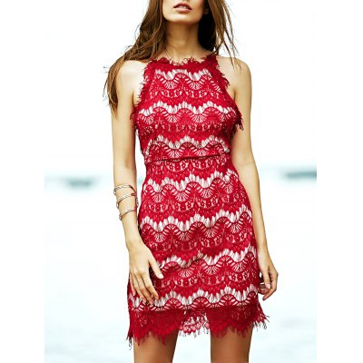 Spaghetti Straps Red Lace Dress