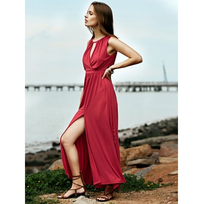 Stylish Keyhole Neckline Sleeveless Red Women's Maxi Dress