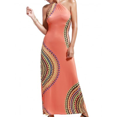 Alluring Halter Neck Printed Hollow Out Dress