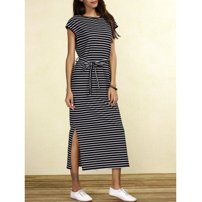 Cap Sleeve Waist Tied Striped Slit Maxi Dress