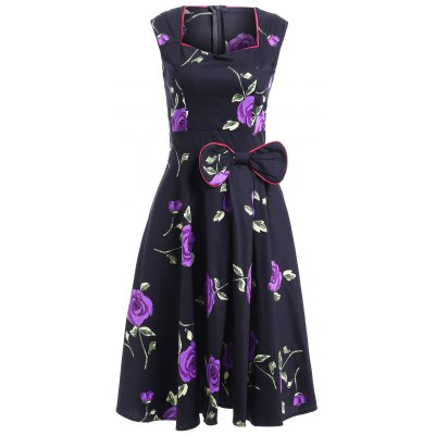 Sweetheart Neck Sleeveless Floral Bowknot Dress For Women