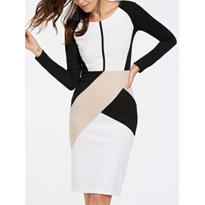 Elegant Long Sleeve Round Neck Color Block Women's OL Dress