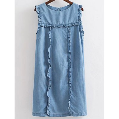 Stylish Round Neck Flouncing Sleeveless Denim Dress For Women