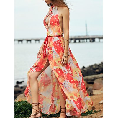 Stand Neck Sleeveless Printed Open Back Dress