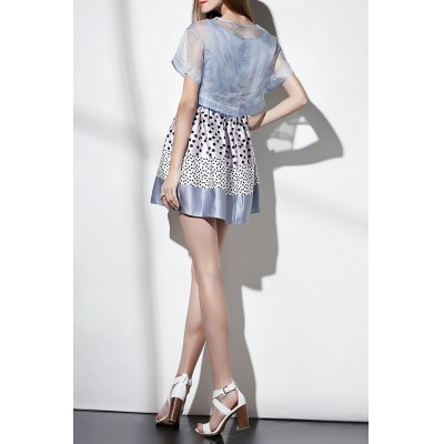 Polka Dot Mini Dress with Cover UpDesigner Dresses<br>Polka Dot Mini Dress with Cover Up<br><br>Style: Cute<br>Occasion: Causal,Day<br>Material: Polyester,Silk<br>Composition: Cover-Up Composition:100% Silk&lt;br&gt;Cami Dress Composition:100% Polyester<br>Neckline: Round Collar<br>Silhouette: A-Line<br>Dresses Length: Mini<br>Sleeve Length: Short Sleeves<br>Embellishment: Bowknot<br>Pattern Type: Polka Dot<br>With Belt: No<br>Season: Summer<br>Weight: 0.390kg<br>Package Contents: 1 x Cover-Up  1 x Cami Dress