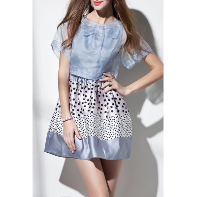 Polka Dot Mini Dress with Cover Up