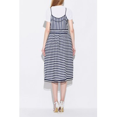 Spaghetti Strap Striped Two Piece DressDesigner Dresses<br>Spaghetti Strap Striped Two Piece Dress<br><br>Style: Preppy Style<br>Occasion: Casual,Day<br>Material: Cotton,Linen,Polyester<br>Composition: Outer Composition:30% Cotton,40% Linen,30% Polyester&lt;br&gt;Outer Composition:100% Polyester<br>Silhouette: A-Line<br>Dresses Length: Mid-Calf<br>Neckline: Spaghetti Strap<br>Sleeve Length: Sleeveless<br>Pattern Type: Striped<br>With Belt: No<br>Season: Summer<br>Weight: 0.530kg<br>Package Contents: 1 x Dress  1 x Tee