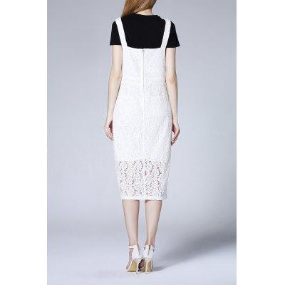 Cut Out Lace Crochet Slit DressDesigner Dresses<br>Cut Out Lace Crochet Slit Dress<br><br>Style: Brief<br>Occasion: Casual,Day<br>Material: Cotton,Nylon,Polyester<br>Composition: Outer Composition:75% Cotton,25% Nylon&lt;br&gt;Lining Composition:100% Polyester<br>Silhouette: A-Line<br>Dresses Length: Mid-Calf<br>Neckline: Square Collar<br>Sleeve Length: Sleeveless<br>Embellishment: Lace<br>Pattern Type: Solid<br>With Belt: No<br>Season: Summer<br>Weight: 0.470kg<br>Package Contents: 1 x Dress