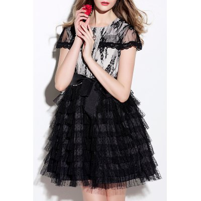 Lace Panel Tiered A Line Dress