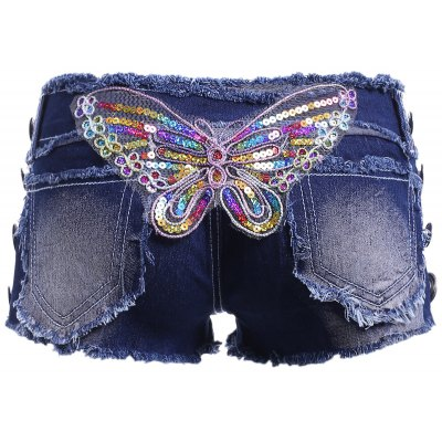 Butterfly Squins Frayed Denim Shorts For Women
