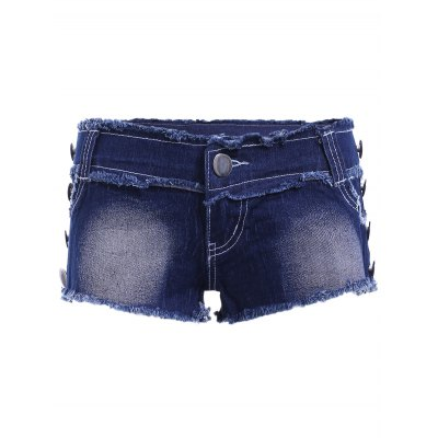 Casual Butterfly Squins Frayed Denim Shorts For Women