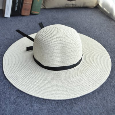 Black Lace-Up Holiday Travelling Outdoor Straw Hat For Women