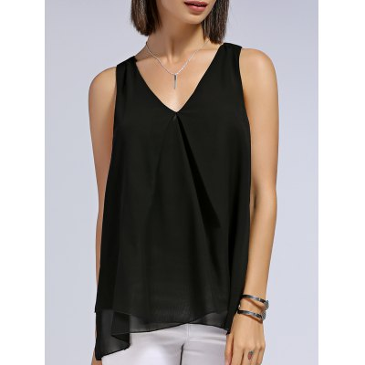 V-Neck Layered Solid Color Women's Tank Top
