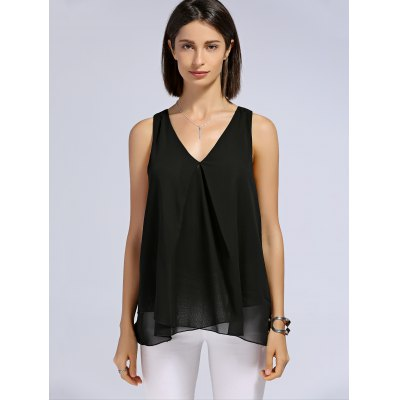 Trendy V-Neck Layered Solid Color Women's Tank Top