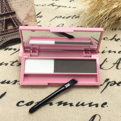 Stylish 2 Colours Long Lasting Sweatproof Smudge-Proof Eyebrow Powder Palette with Brush and Mirror