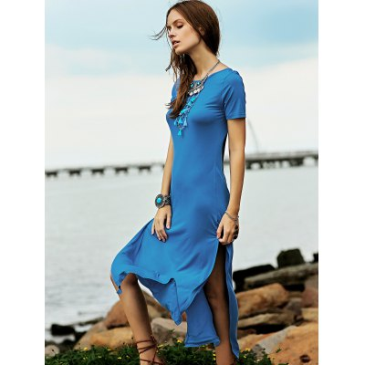 Fashion Round Neck Short Sleeve High Slit Maxi Dress For WomenMaxi Dresses<br>Fashion Round Neck Short Sleeve High Slit Maxi Dress For Women<br><br>Style: Casual<br>Occasion: Casual<br>Material: Cotton Blend<br>Silhouette: A-Line<br>Dresses Length: Ankle-Length<br>Neckline: Round Collar<br>Sleeve Length: Short Sleeves<br>Pattern Type: Solid<br>With Belt: No<br>Season: Fall,Spring,Summer<br>Weight: 0.370kg<br>Package Contents: 1 x Dress