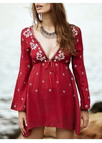 Bohemian Embroidered Long Sleeve Women's Tunic Dress