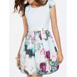 Refreshing Cap Sleeves Floral Print Patchwork Dress For Women