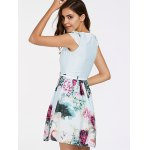 Refreshing Cap Sleeves Floral Print Patchwork Dress For Women deal