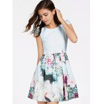 cheap Refreshing Cap Sleeves Floral Print Patchwork Dress For Women
