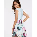Refreshing Cap Sleeves Floral Print Patchwork Dress For Women for sale