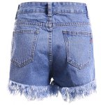 cheap Chic Women's Bleach Wash Pocket Design Demin Shorts