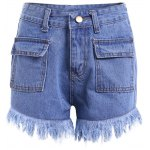 Chic Women's Bleach Wash Pocket Design Demin Shorts