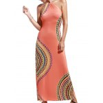 Alluring Halter Neck Printed Hollow Out Women's Dress